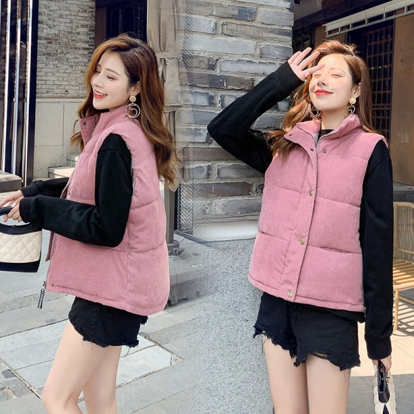 New Fashion Women Vest Coat Autumn Winter Warm Thick Short Waistcoat Female Parkas Cotton Sleeveless Corduroy Jacket Vest