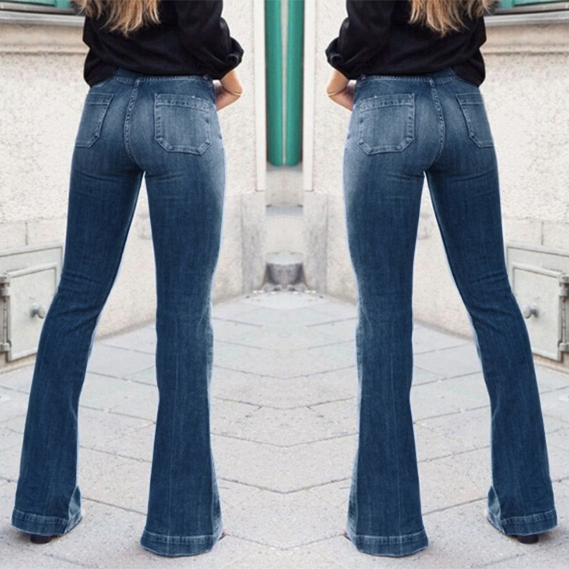 Women Fashion High-Rise Wide Leg Flared Jeans Retro Bell Bottom Jeans Denim Ladies Zipper Pocket Trousers 2