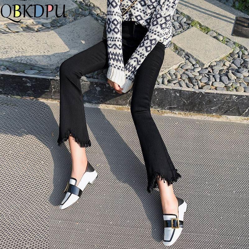 High Waist black flare Tassel Jeans Woman Thin Fringed Edges Ankle trousers Horn high waist skinny bell bottom Denim Pant Female 1