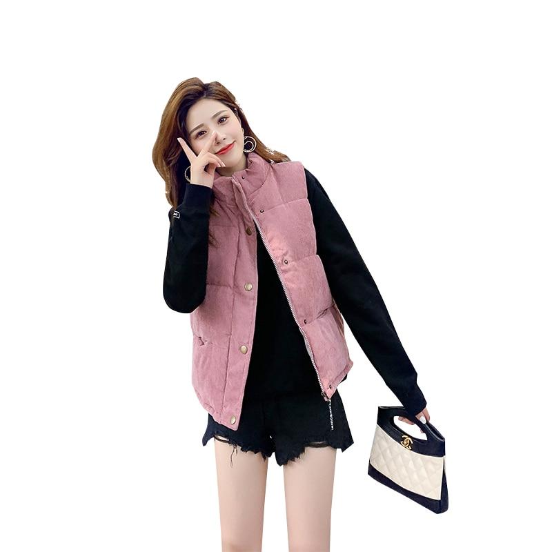 New Fashion Women Vest Coat Autumn Winter Warm Thick Short Waistcoat Female Parkas Cotton Sleeveless Corduroy Jacket Vest 1