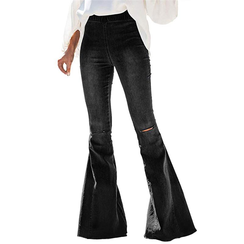 2020 New High Waist Flare Jeans Black Bell Bottom Ripped Female Jeans For Women Denim Skinny Jeans Mom Wide Leg Plus Size Pants 3