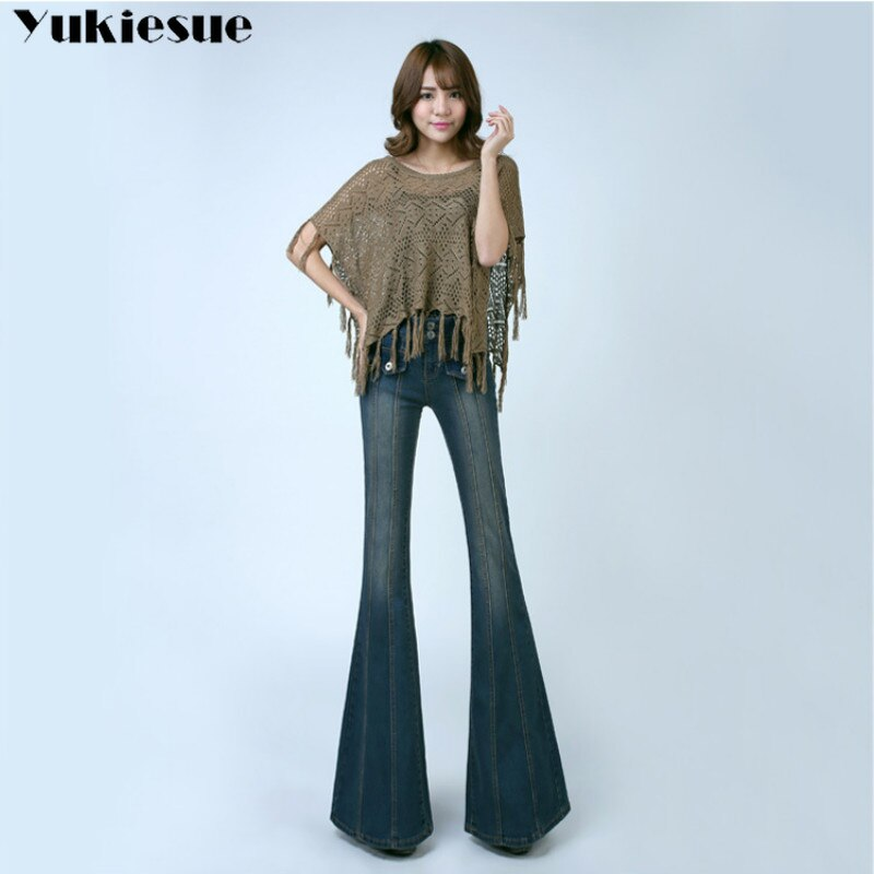 woman's Flared Jeans with High Waist for women Elegant Retro Style Bell Bottom Skinny Denim Pants Female Sexy Wide Leg Jeans 3