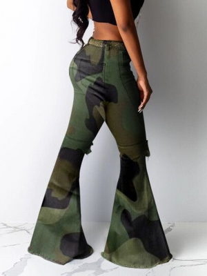 Ophestin Jean for Women Plus Size High Waist Denim Bell Bottom Distressed Ripped Fashion Camouflage Female Trousers