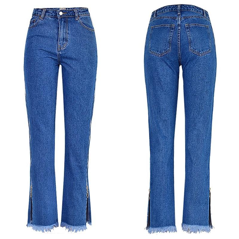 High Waist Denim Long Jeans Women Flare Pants Unique Double Side Zipper Split Bell Bottom Teenage Girl Chic Streetwear Plus Size 3
