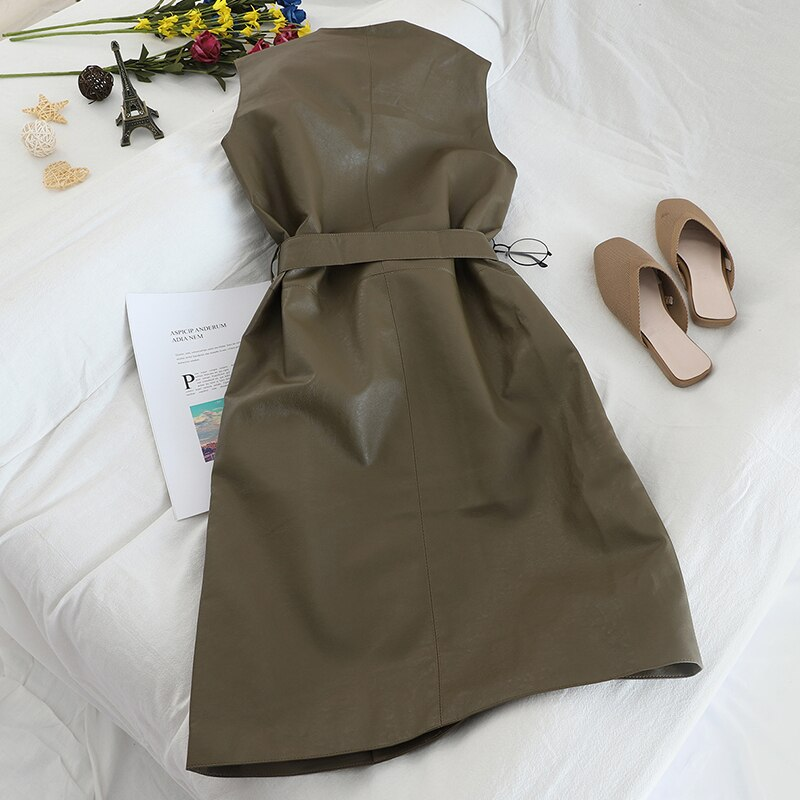 Gagarich Women Vests Sleeveless Medium Long Belt Waist Female Elegant Autumn Winter PU Leather Loose Vests 2020 3