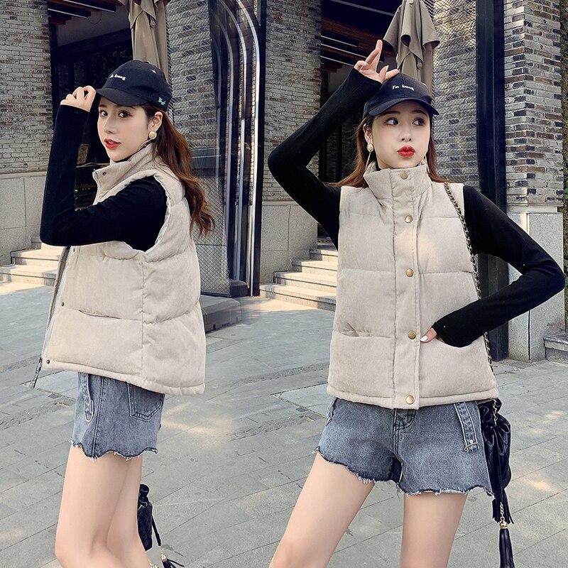 New Fashion Women Vest Coat Autumn Winter Warm Thick Short Waistcoat Female Parkas Cotton Sleeveless Corduroy Jacket Vest 3