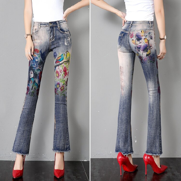 Flare Pants Women Flare Jeans Summer Autumn New Retro Printed Horn Jeans Thin Loose Slim High Waist Burr Pants Ripped Jeans 3