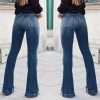 Women Fashion High-Rise Wide Leg Flared Jeans Retro Bell Bottom Jeans Denim Ladies Zipper Pocket Trousers