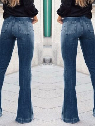 Women Fashion High-Rise Wide Leg Flared Jeans Retro Bell Bottom Jeans Denim Ladies Zipper Pocket Trousers