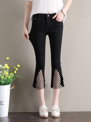 High Waist Jeans Woman Ankle-length Denim Pants Plus Size Women Flare Jeans Blue Black Vintage Pants Baqueros Mujer AC041