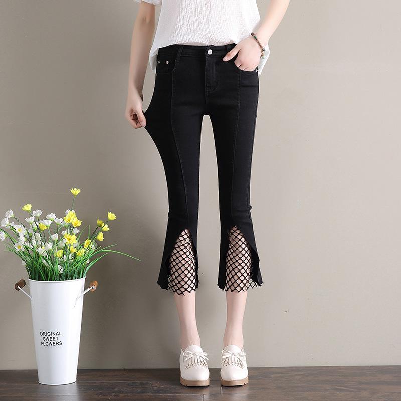 2020 High Waist Jeans Woman Ankle-length Denim Pants Plus Size Women Flare Jeans Blue Black Vintage Pants Baqueros Mujer AC041