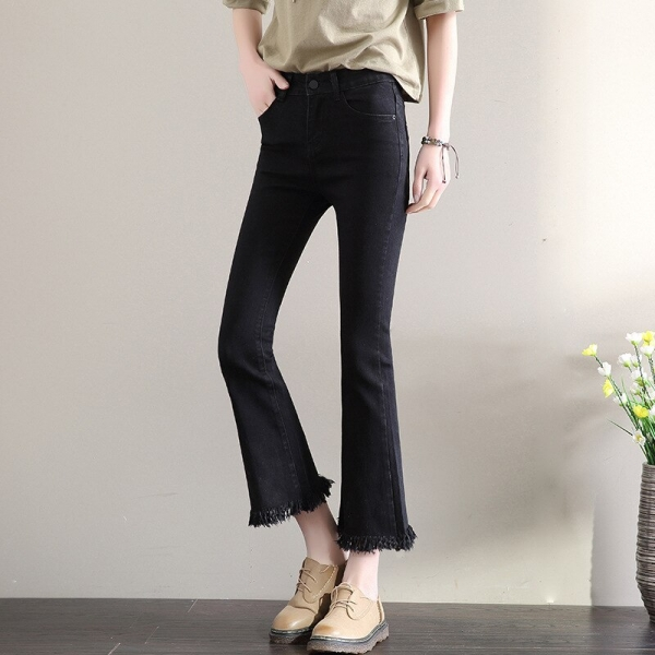 New Slim Flare Pants Vintage High Waist Women Jeans Solid Trousers Ankle-Length Pants Lady Tassel loose cowboy Flares