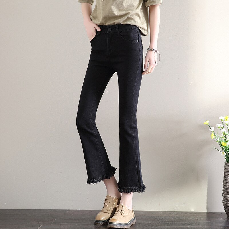 2019 New Slim Flare Pants Vintage High Waist Women Jeans Solid Trousers Ankle-Length Pants Lady Tassel loose cowboy Flares