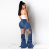 Wjustforu Bell Bottoms Ripped Flare Jeans For Women Back Hollow Out Patchwork Hole Jeans Female Skinny Club Denim Pants Vestido