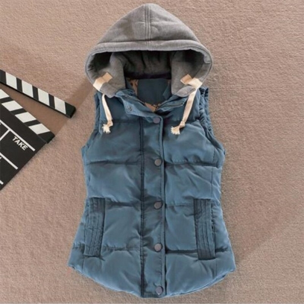 Zogaa Spring Autumn Women Vest Jacket Ladies Winter Warm Cotton Sleeveless Waistcoat Jacket Casual Slim Fit Hooded Coat Women