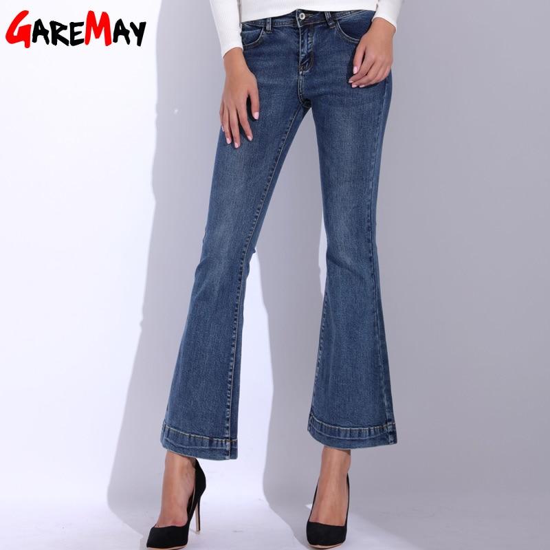 GAREMAY Denim Women Flare Jeans Causal Elastic Blue Bell Bottom Jeans Femme 2018 High Waist Slim Skinny Pants Women's Trousers 2