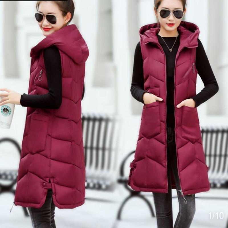 Brieuces Autumn winter vest women 2020 cotton-padded warm thicken long woman vest female hooded parka jacket waistcoat plus size 2
