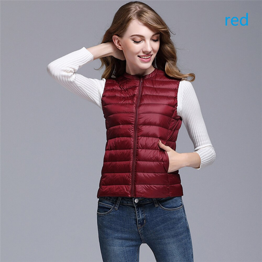 Women's Ultra Light Duck Down Vest Jacket Women White Duck Down Vest 2019 Autumn Winter Round Collar Sleeveless Coat for Women 3
