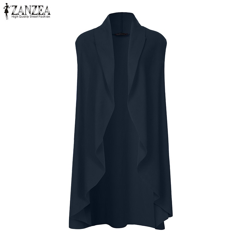 ZANZEA Women Vests Casual Loose Sleeveless Cardigan 2019 Fashion Chaqueta Mujer Plus Size Solid Coats Jackets Outwear Overcoats 1