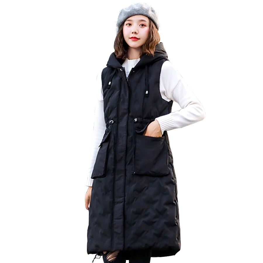 Autumn winter vest women 2019 cotton-padded warm thicken long woman vest female hooded parka jacket waistcoat plus size 1