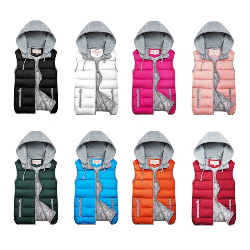 2019 Winter Coat Women Hooded Warm Vest Plus Size Candy Color Cotton Jacket Female Women Wadded Feminina chalecos 3