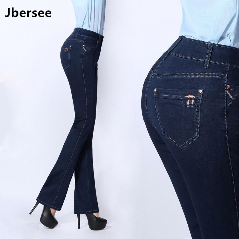 Jbersee Autumn Winter Women Flare Jeans High Waist Skinny Jeans Woman Denim Pants Plus Size Stretch Embroidered Womens Jeans 1