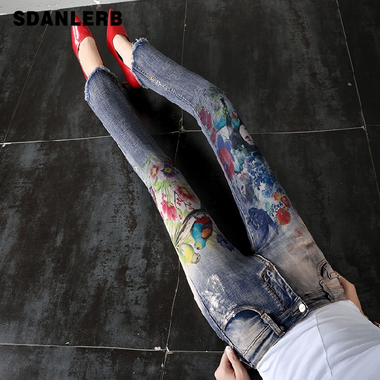 Flare Pants Women Flare Jeans Summer Autumn New Retro Printed Horn Jeans Thin Loose Slim High Waist Burr Pants Ripped Jeans 1