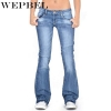 Flare Jeans Casual Mid Waist Bell Stretch Slim Pants Length Jeans WEPBEL Ladies Denim Trousers Women Flare Jeans Casual Mid Waist Bell Stretch Slim Pants Length Jeans