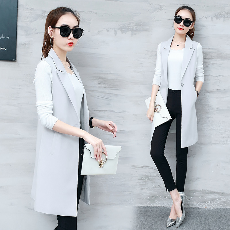 VANGULL Elegant Suit Vest Women Spring Autumn Sleeveless Long Vest Jacket Colete Plus Size 3XL Blazer Vest Coat Women Waistcoat 3