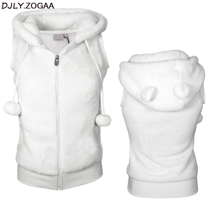 Women Winter Warm Vests Coat Soft Fleece Hooded Outwear Female Fashion Casual Thicken Vest Jacket Solid Women Fur Vest Coat 2