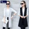 VANGULL Elegant Suit Vest Women Spring Autumn Sleeveless Long Vest Jacket Colete Plus Size 3XL Blazer Vest Coat Women Waistcoat