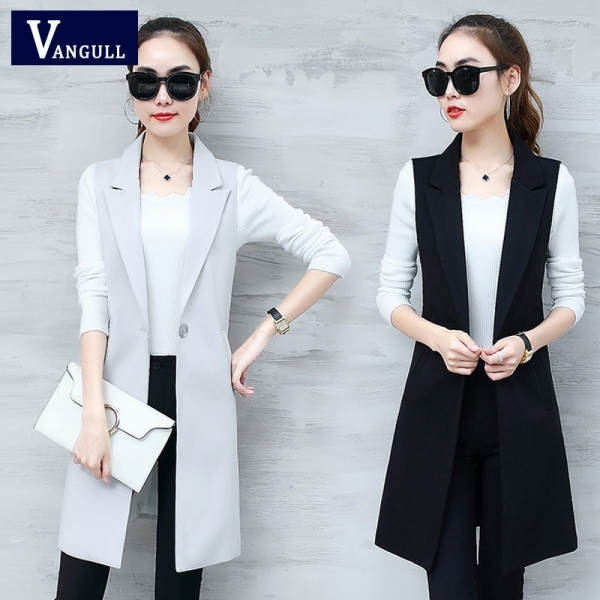 VANGULL Elegant Suit Vest Women Spring Autumn Sleeveless Long Vest Jacket Colete Plus Size 3XL Blazer Vest Coat Women Waistcoat