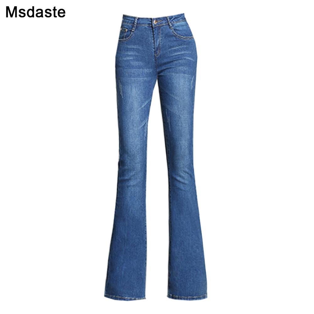 Flare Pants Jeans Women 2019 Spring Slim Wide Leg Ladies Denim Trousers Elastic High Waist Pantalon Jean Femme Woman Jeans 1