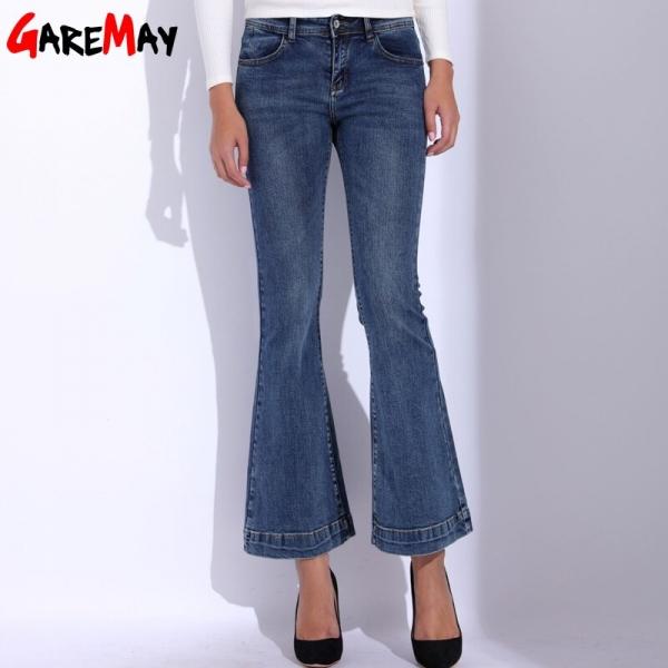 GAREMAY Denim Women Flare Jeans Causal Elastic Blue Bell Bottom Jeans Femme 2018 High Waist Slim Skinny Pants Women's Trousers