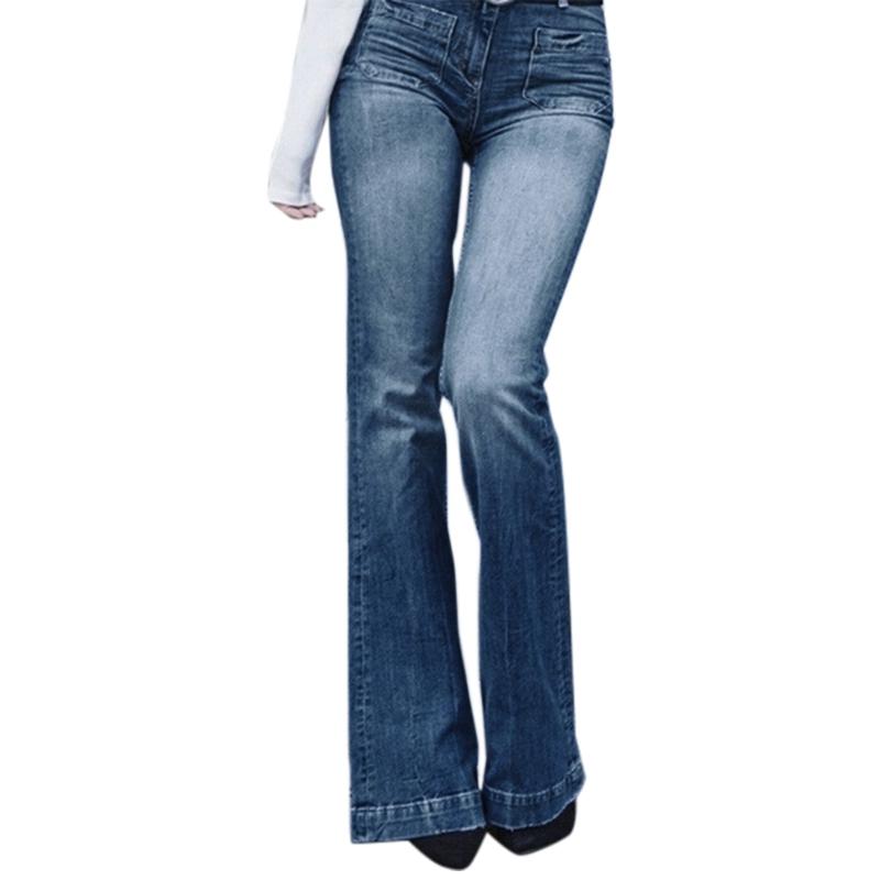 Women Fashion High-Rise Wide Leg Flared Jeans Retro Bell Bottom Jeans Denim Ladies Zipper Pocket Trousers 1