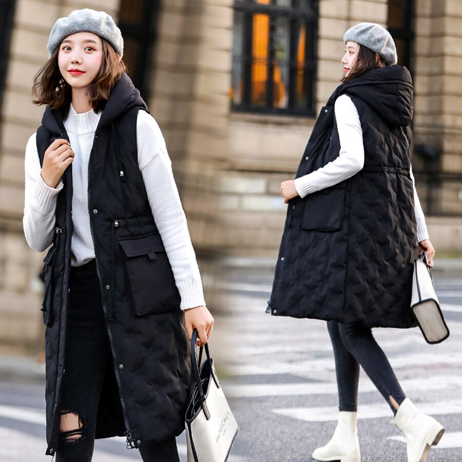 Autumn winter vest women 2019 cotton-padded warm thicken long woman vest female hooded parka jacket waistcoat plus size 2