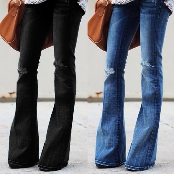 Fashion Women Jeans Denim Hole Female Mid Waist Stretch Slim Flare Jeans cargo pants Hole Denim Casual #4