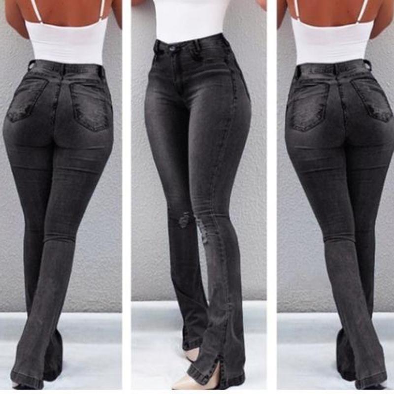 Sexy Slim Waist Skinny Flare Pants Jeans Tight Lady Mid Waist Lady Jeans Women Wide Leg Jeans Plus Size XXXL