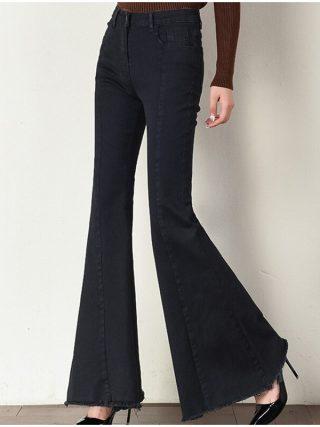 Plus Size Big Bell-Bottom Stretch Black Denim Long Jeans For Women 5Xl 7Xl Autumn Winter Wide Leg Tassel Skinny Flare Pants
