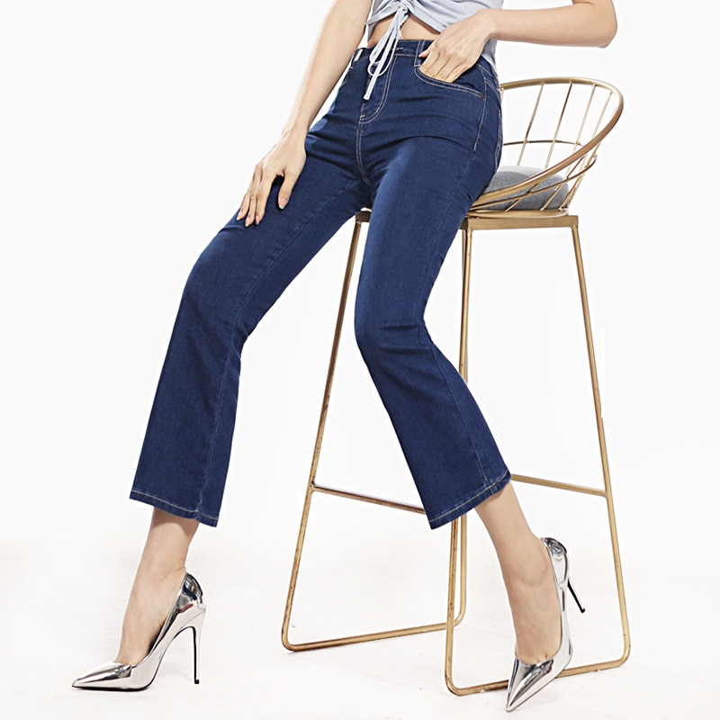 FERZIGE Womens Jeans Solid Black Blue Summer Thin Flare Pants Cropped High Waist Stretch Denim Pants for Yong Girls Fashoin 2