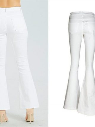 Spring European American embroidery Fashion Women Flares Jeans Plus Size Stretch Button Beaded Jeans Casual Denim Pants Trousers
