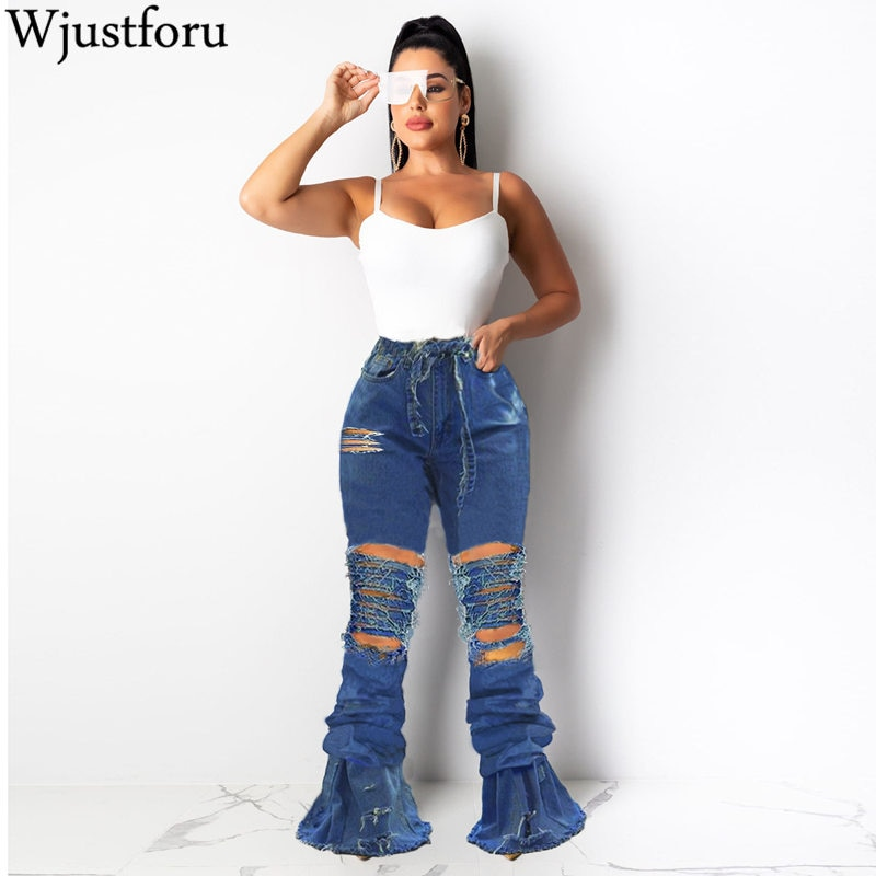 Wjustforu Bell Bottoms Ripped Flare Jeans For Women Back Hollow Out Patchwork Hole Jeans Female Skinny Club Denim Pants Vestido 1
