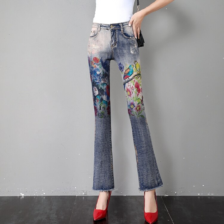 Flare Pants Women Flare Jeans Summer Autumn New Retro Printed Horn Jeans Thin Loose Slim High Waist Burr Pants Ripped Jeans 2