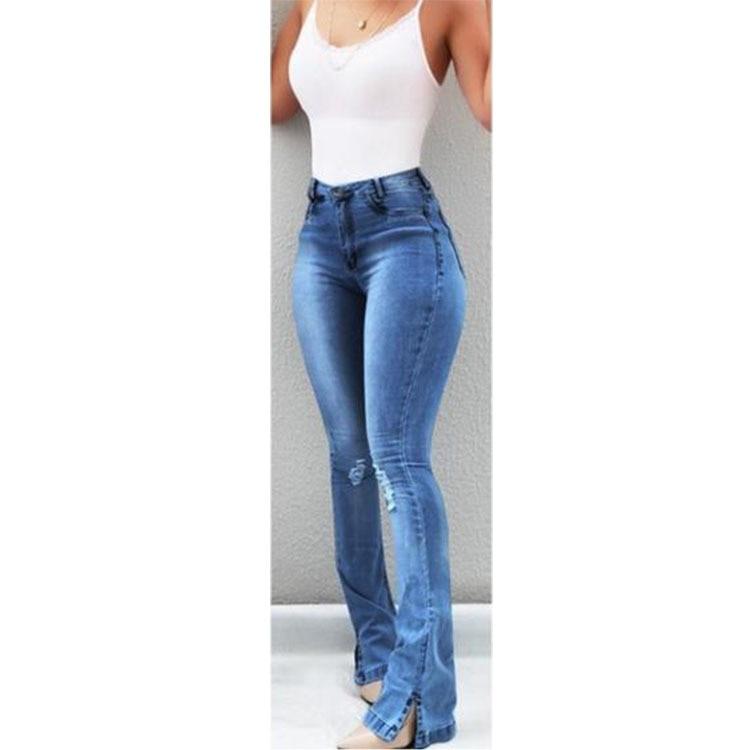 Sexy Slim Waist Skinny Flare Pants Jeans Tight Lady Mid Waist Lady Jeans Women Wide Leg Jeans Plus Size XXXL 3