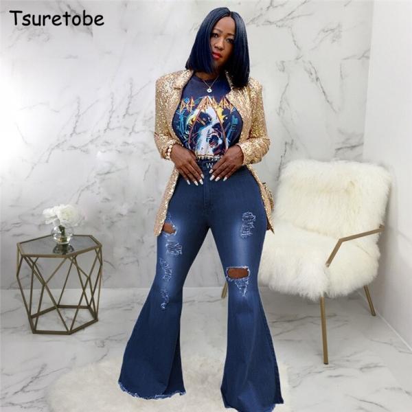 Tsuretobe Autumn Plus Size Flare Pants Women Ripped Jeans Fashion High Waist Wide Leg Pants Casual Bell-Bottoms Jeans Trousers