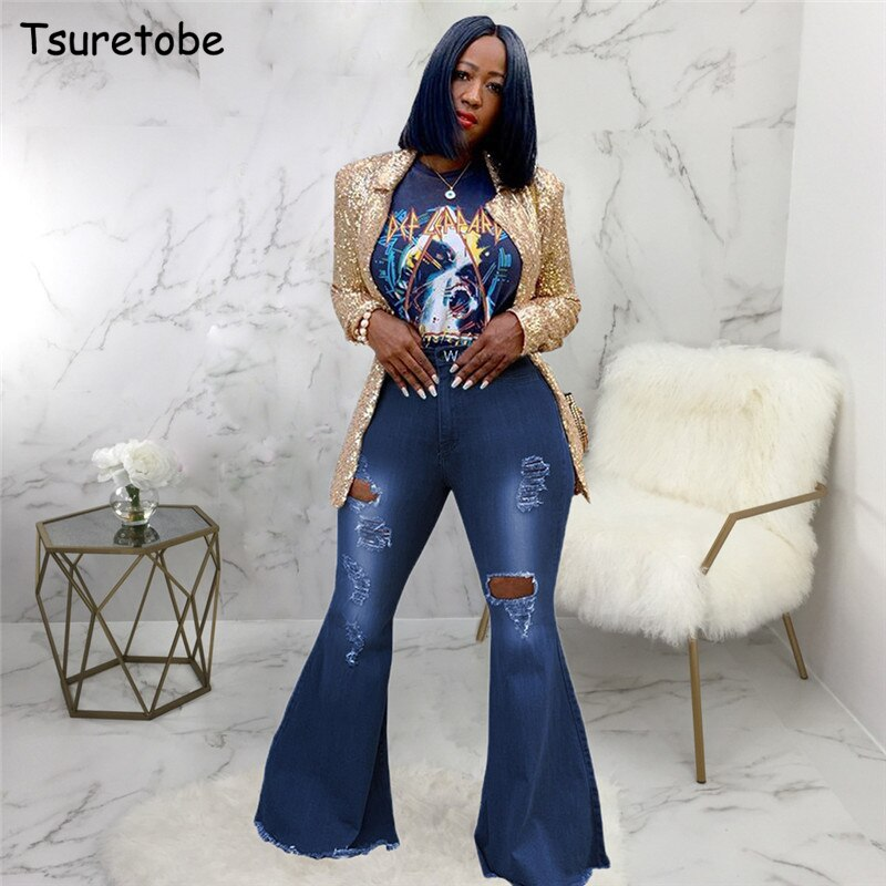 Tsuretobe Autumn Plus Size Flare Pants Women Ripped Jeans Fashion High Waist Wide Leg Pants Casual Bell-Bottoms Jeans Trousers