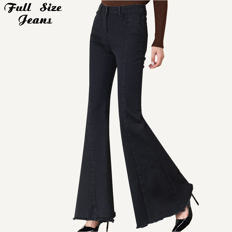 Plus Size Big Bell-Bottom Stretch Black Denim Long Jeans For Women 5Xl 7Xl Autumn Winter Wide Leg Tassel Skinny Flare Pants 1