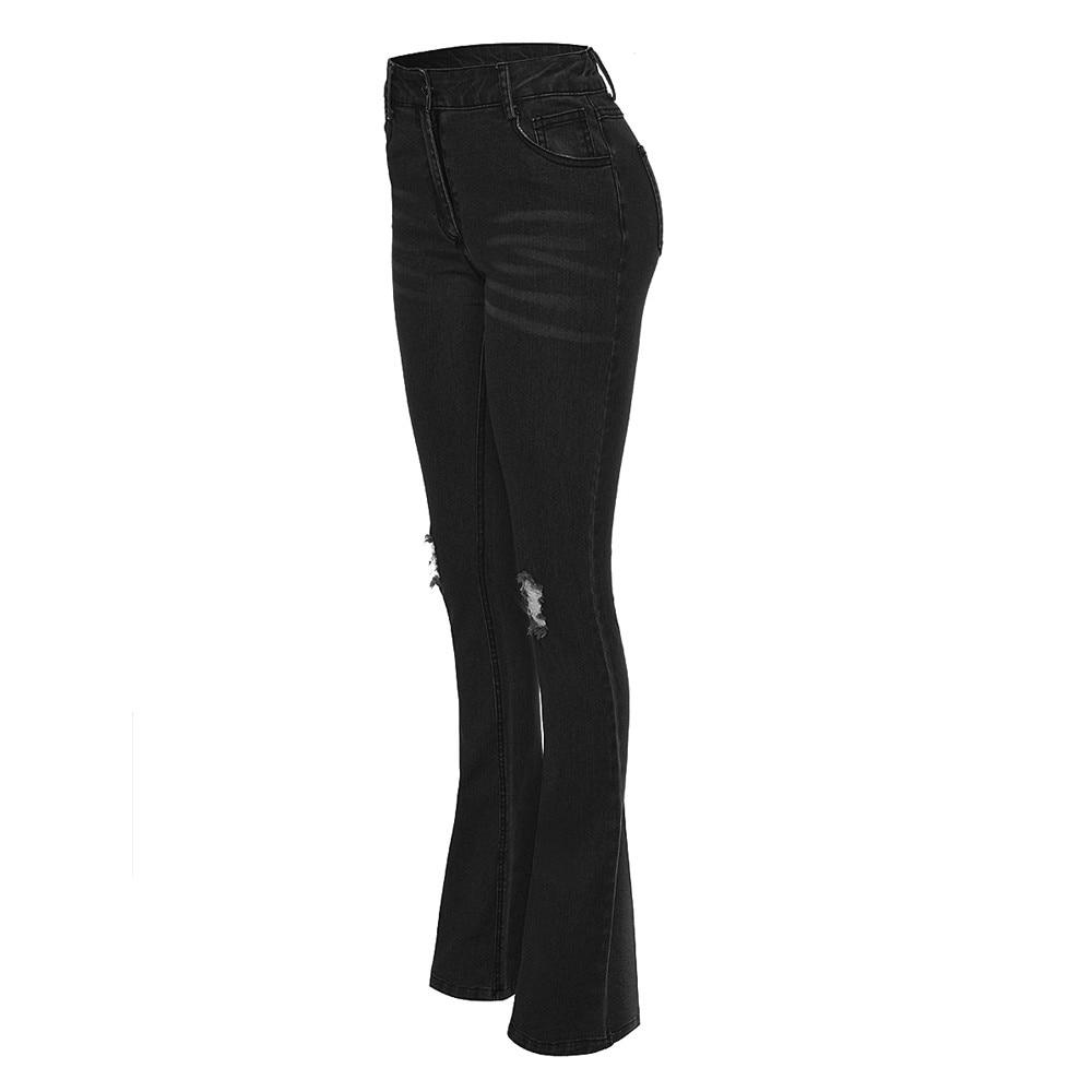 Fashion Women Jeans Denim Hole Female Mid Waist Stretch Slim Flare Jeans cargo pants Hole Denim Casual #4 2