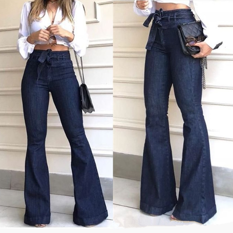 Streetwear High waist Lace Up Flare Pants Jeans for Woman Fashion Full Length Wide Leg Pants Female 2020 Fashion Clothing tide 2