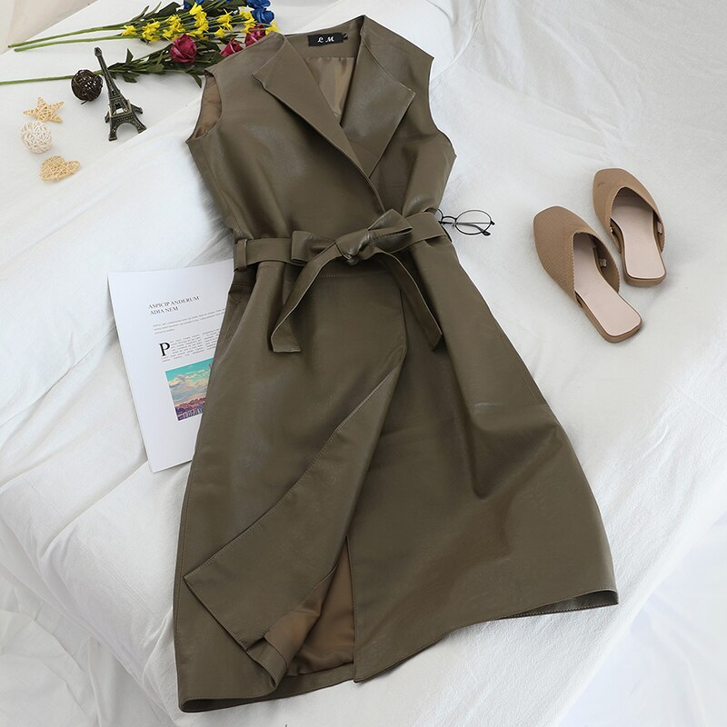 Gagarich Women Vests Sleeveless Medium Long Belt Waist Female Elegant Autumn Winter PU Leather Loose Vests 2020
